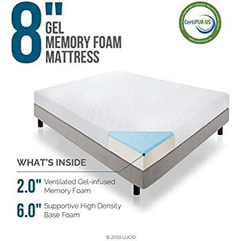Amazon Com Lucid 8 Inch Gel Infused Memory Foam Mattress