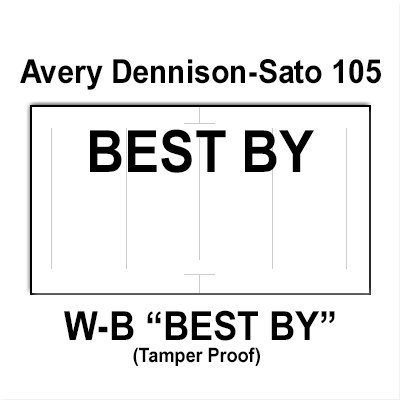 200,000 Sato compatible 105 ''Best By'' White General Purpose Labels to fit the Avery Dennison Sato PB-1, 105, 106 & 107 Price Guns. Full Case. by Infinity Labels