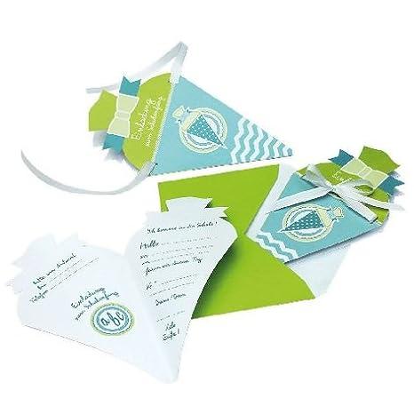 Einladungskarte 4 St/Ã/¼ck Schulanfang Schult/Ã/¼te t/Ã/¼rkis gr/Ã/¼n in Packung