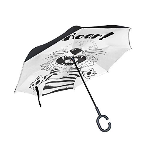Mr.Lucien Roar Tiger Double Layer Inverted Umbrella Cars Reverse Umbrella Look Up Pattern Black And White Fierce Interesting Windproof UV Proof Travel Outdoor Umbrella 2021351