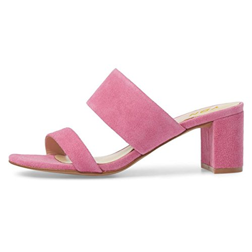 Ydn Mujer Block Low Heel Mules Slip On Pumps Open Toe Slide Sandals Slipper Zapatos Pink