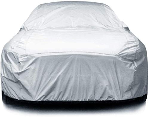 iCarCover 7-Layers All Weather Waterproof Snow Rain UV Sun Dust Protection Automobile Outdoor Coupe Sedan Hatchback Wagon Custom-Fit Full Body Auto Vehicle Car Cover – for Cars Up to 173""