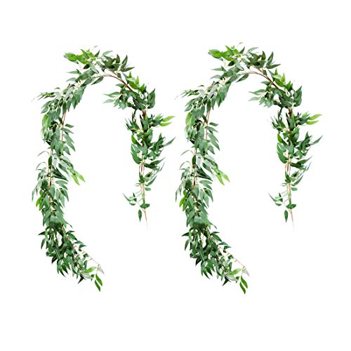 UNIQOOO 5.6 Feet Willow Leaves Garland, Artificial Greenery Wedding Vines | Faux Flower Wreath | Wedding Backdrop, Greenery Table Runner, Arch Decoration Photo Booth Decor, Pack of 2 -