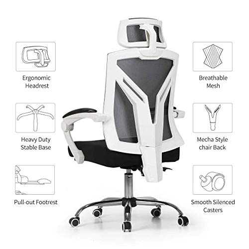 Hbada Ergonomic Office Chair - High-Back Desk Chair Racing Style with Lumbar Support - Height Adjustable Seat,Headrest- Breathable Mesh Back - Soft Foam Seat Cushion with Footrest, White by Hbada (Image #8)