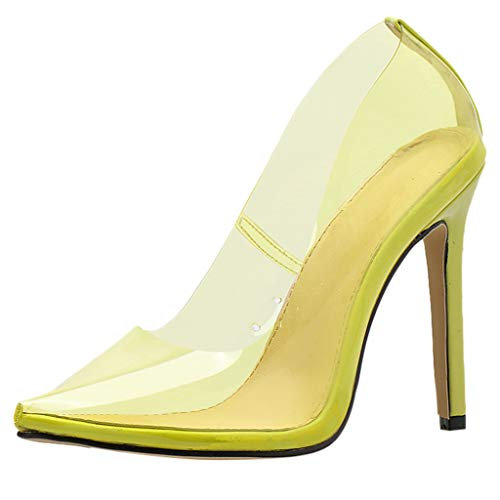 - ℱLOVESOOℱ Women Fashion High Heel Pointed Toe Clear Pumps Heels Sexy Slip on Dress Shoes Party Club Stilettos Sandals Yellow
