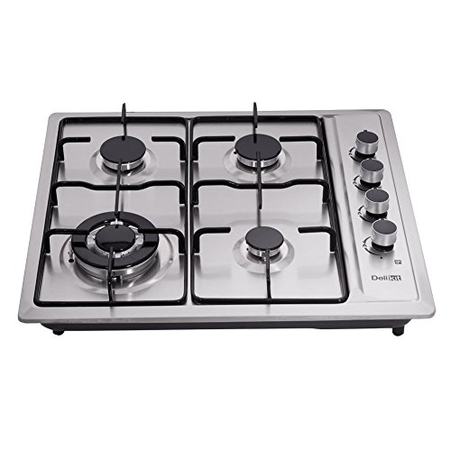 DeliKit DK245-A01T 24 inch gas cooktop gas hob 4 Burners LPG/NG Dual Fuel 4 Sealed Burners Stainless Steel Right Knobs gas hob Built-In gas hob 110V AC pulse ignition Gas Cooktops Cooker gas stov