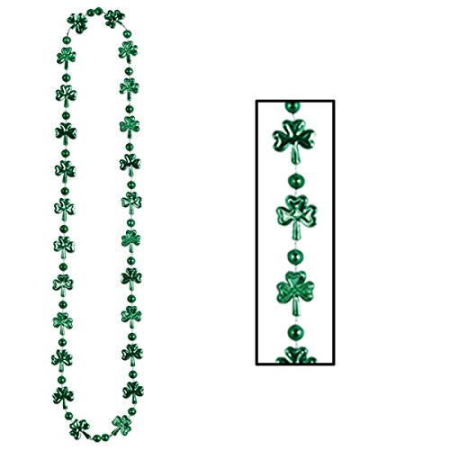 Club Pack of 12 Green Shamrock and Ball St. Patrick's Day Bead Necklaces 33