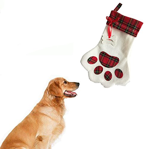 Dog Stocking Storage Bag , Pet Doggy Personalized Paw Stocking Carrying Bag Christmas Decorations with Embroidered Plaid and Bone Attached by (Red Bone Hound Dogs)