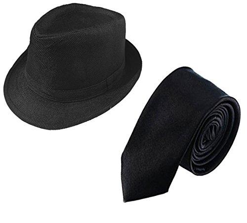 1920s Mens Accessories Set Manhattan Fedora Hat for Men,1920s Tie (black2)]()