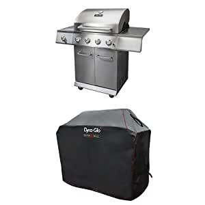 Dyna-Glo DGE Series Propane Grill, 4 Burner, Stainless and premium grill cover ,Medium