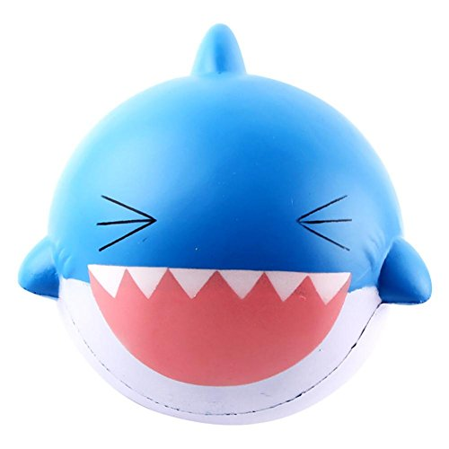 FINERINE 15cm Big Lovely Happy Shark Scented Squishy Slow Rising Squeeze Toys Collection (Blue) (Frog Pod Bath Toy)