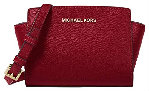 (Michael Kors Selma Mini Leather Messenger Crossbody Bag - Maroon)