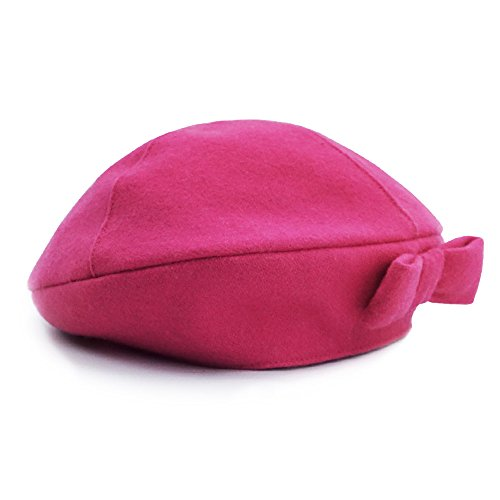 (Keepersheep Baby Girls' Lovely Cute Beanie Hat, Baby Girls' Berets Hat with Bowknot (0-3 Months, Fushia))