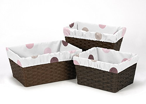 Sweet Jojo Designs 3-Piece Fits Most Basket Liners for Pink and Chocolate Mod Dots Bedding Sets