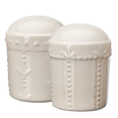 Signature Housewares Sorrento Collection Stoneware Salt and Pepper Shaker Set, Ivory Antiqued Finish