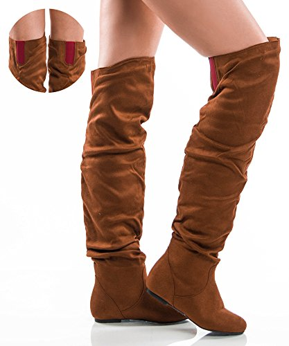 Women's TREND-Hi Over-the-Knee Thigh High Flat Slouchy Shaft Low Heel Boots by ROOM OF FASHION CAMEL RED SUEDE (Red Flat Boots)