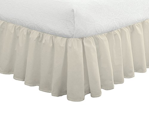 (Bed Ruffle Skirt Soft Smooth Microfiber Bed Wrap with Platform- Easy Fit Gathered Style 3 Sided Coverage Short Queen Size,Ivory, for Natural Draping 15 Inch by Ras Decor Linen)