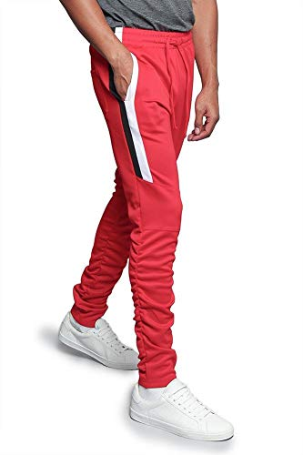 Men's Scrunched Bungee Calf Sectional Outer Side Stripe Tonal Drawstring Premium Track Pants TR546 - Red - 5X-Large - E5D