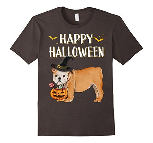 Mens Cute Bulldog Happy Halloween Costume Funny Gift T-Shirt XL Asphalt (Funny French Bulldog Halloween Costumes)