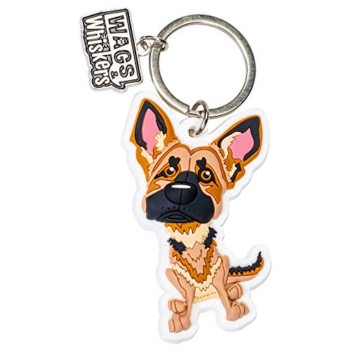 Wags and Whiskers German Shepherd Key Chain with Keyring/Key Holder ()
