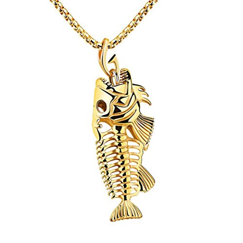 sameno New Man Fish Bone & Fishing Hook Skeleton Stainless Steel Pendant Surfer Chain Necklace (Gold)
