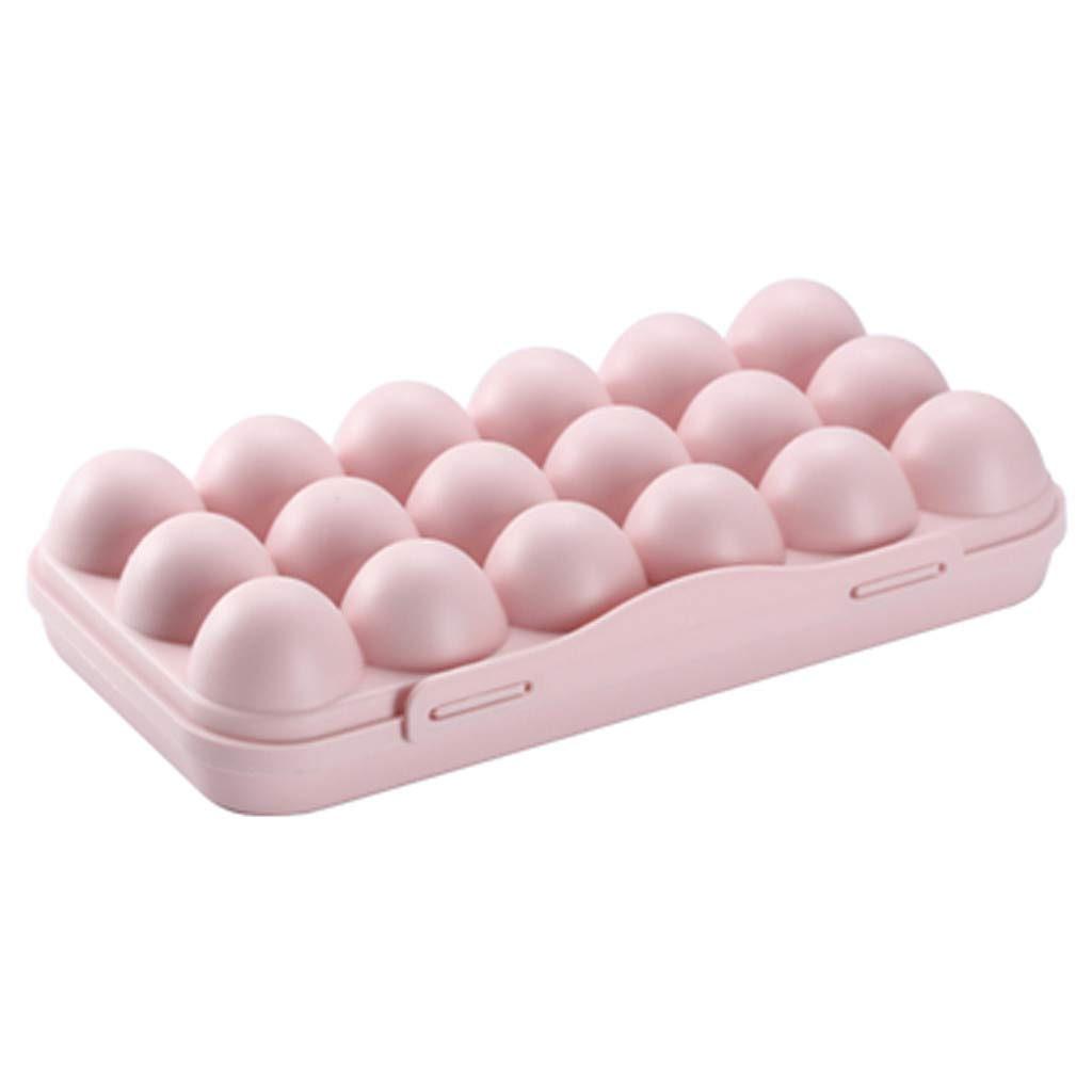 18 Eggs Holder for Refrigerator Gray Tuscom Plastic Covered Egg Tray Egg Storage Container with Lid Portable Egg Storage Bin Case Eggs Dispenser Eggs Box Carrier for Fridge Camping,11.8x5.9x2.6