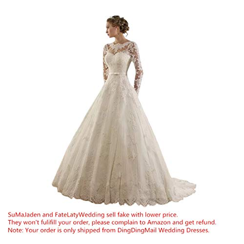 Sunweddingdress Women's Jewel Lace Applique Long Sleeve Chapel Wedding Dress ()