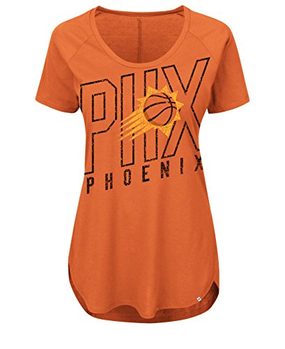 NBA Phoenix Suns Women's Fanatic Force Short Sleeve Scoop Neck Tee, Large, Dark Orange