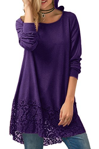 Boosouly Women Fall Oversized Lace Hem High Low Long Sleeve Shirt Fitted Flowy Hooded Tunic Purple XL (Cotton Hooded Lace)
