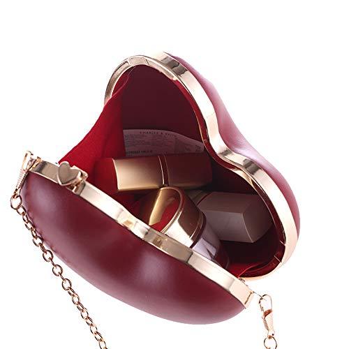 Femmes Sacs PU Mariage Rouge Nuit PU chaîne soirée Dames Couleur Belle Forme Une Sac soirée Sac Mini de de Ofgcfbvxd des de de avec Rouge Coeur de de 6Hdw1q6x