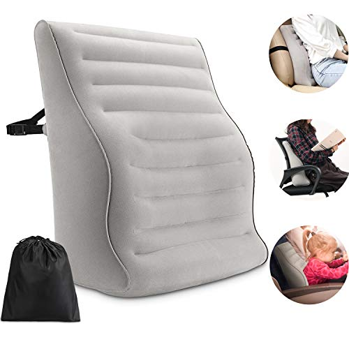 Maliton Inflatable Lumbar Support Pillow - Back Pillow Lumbar Cushion, Adjustable Firmness Chair Back Pillow for Lower back Pain, Portable & Lightweight Lumbar Support for Airplane   Office Chair  Car