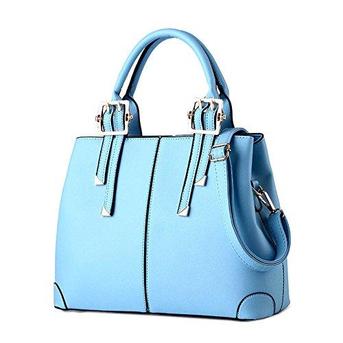 DELEY Diseño Simple Mujeres Europa Bolsa De Hombro Inclinado Totalizador Bolso Comprador Bols Azul