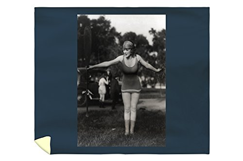 Girl in Bathing Suit Holding Up Oar Photograph (88x104 King Microfiber Duvet Cover)