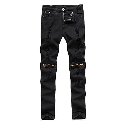 Pantaloni Skinny Alamor Matita Jeans Punk Uomini Strappato Stile 6qqw7APH