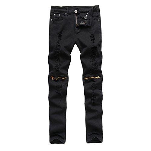 Alamor Herren Punk Stil Ripped Jeans Skinny Bleistift Hose Knie Hose 4 Farben-Schwarz-36