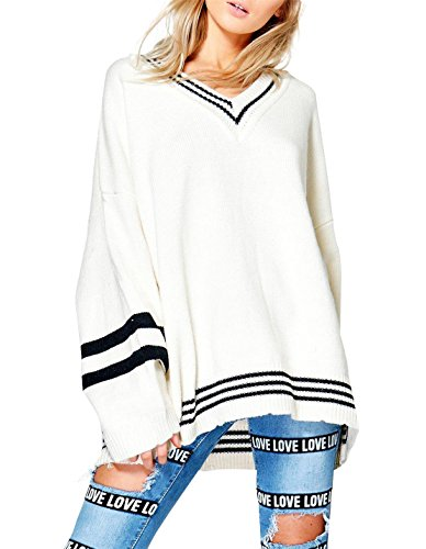 hodoyi Womens Oversized Striped V Neck Long Sleeve Knit Pullover (Varsity Sweater)