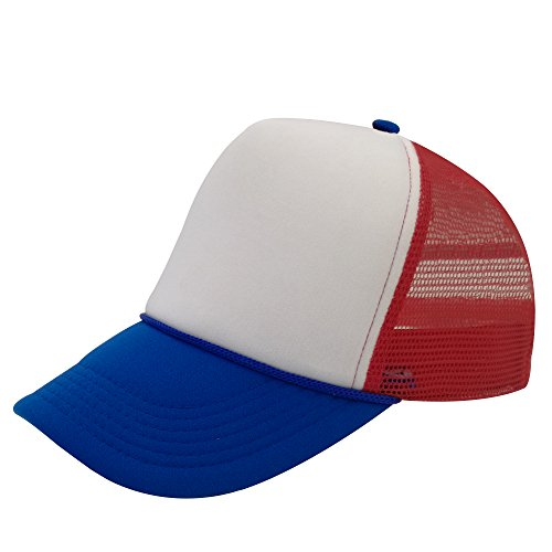 - Unisex Plain Baseball Cap Trucker Mesh Hat Adjustable Snap Back with Rope Front (Red/Blue)