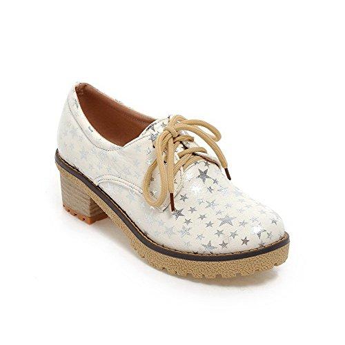 Weiß Mittler Damen Farbe AllhqFashion PU Absatz Schnüren Pumps Gemischte Schuhe Hzxqxtw