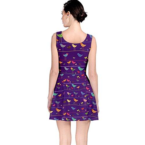 Bird Funny Design Pattern Dress Skater Element Retro Purple ZwEOE