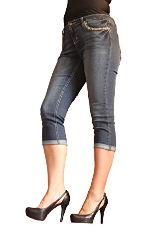 [Earl Jean Petites' Border Stitch Patch Pocket Capris 12 Petite] (Stitch Pocket Jeans)