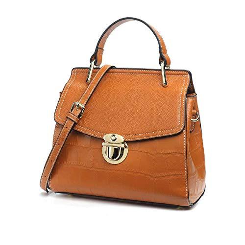 Sac femme en cuir, élégant sac à bandoulière brun minimaliste