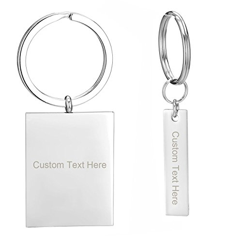 JOVIVI Free Engraving - Personalized Custom Stainless Steel Plain Dog Tag Pendant Keychain/Necklace Set- Valentines Day BBF Best Friend Gift -