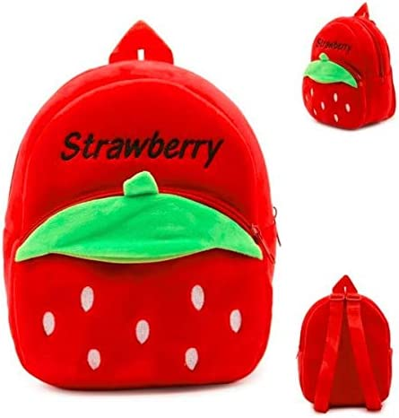 Pandora Velvet Kids School/Nursery/Picnic/Carry/Travelling Bag - 2 to 5 Age (Red Strawberry)