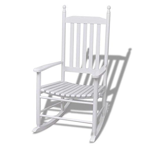vidaXL Indoor Outdoor Porch Patio Rocking Chair Hardwood Fir Wood White Paint by vidaXL