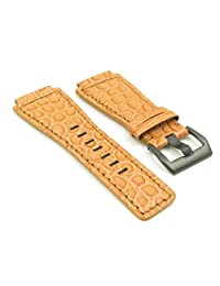 DASSARI Boulder Orange Alligator Leather Watch Band for Bell & Ross w/ Matte Black Buckle 24mm