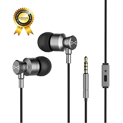 Marsno M1 Wired Metal In Ear Headphones, Noise Isolating Stereo Bass Earphones With Mic,Dynamic Drivers Earbuds Provide Stereo & Crystal Clear Sound (Grey)