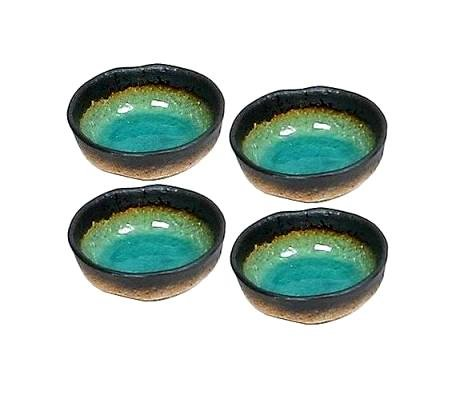 Set of Four Green Kosui Soy Sauce Dipping Bowls 3 1/4 Inch (Soy Dish Sauce)