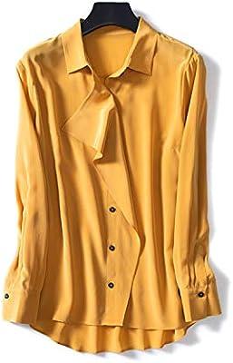 XCXDX Camisa Amarilla De Seda De Manga Larga para Mujer, Elegante Blusa De Mujer De Oficina, Top Básico De Primavera: Amazon.es: Deportes y aire libre