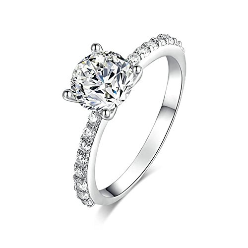 Adisaer Free Engraving Silver Plated Mothers Ring Engraved Brilliant Round with White Cubic Zirconia CZ Size 8