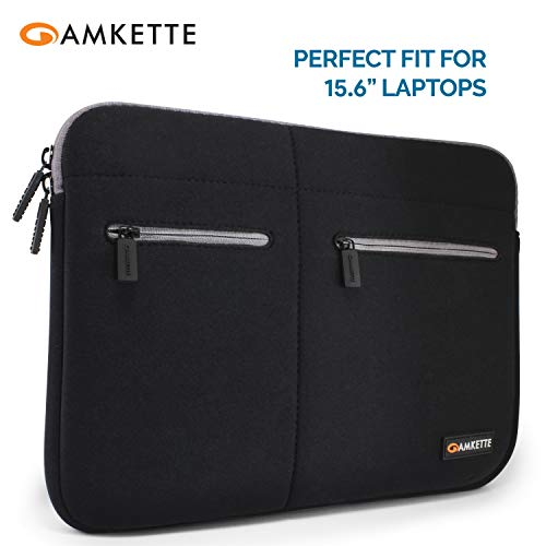 "Amkette Neo Case Multi Pocket Laptop Sleeve for 15-inch MacBook Pro and 15"" – 15.6"" Laptops & Ultrabooks (Black – Grey…"